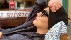 خوابیدن مارال فرجاد در کافه ای در سوئیس+عکس