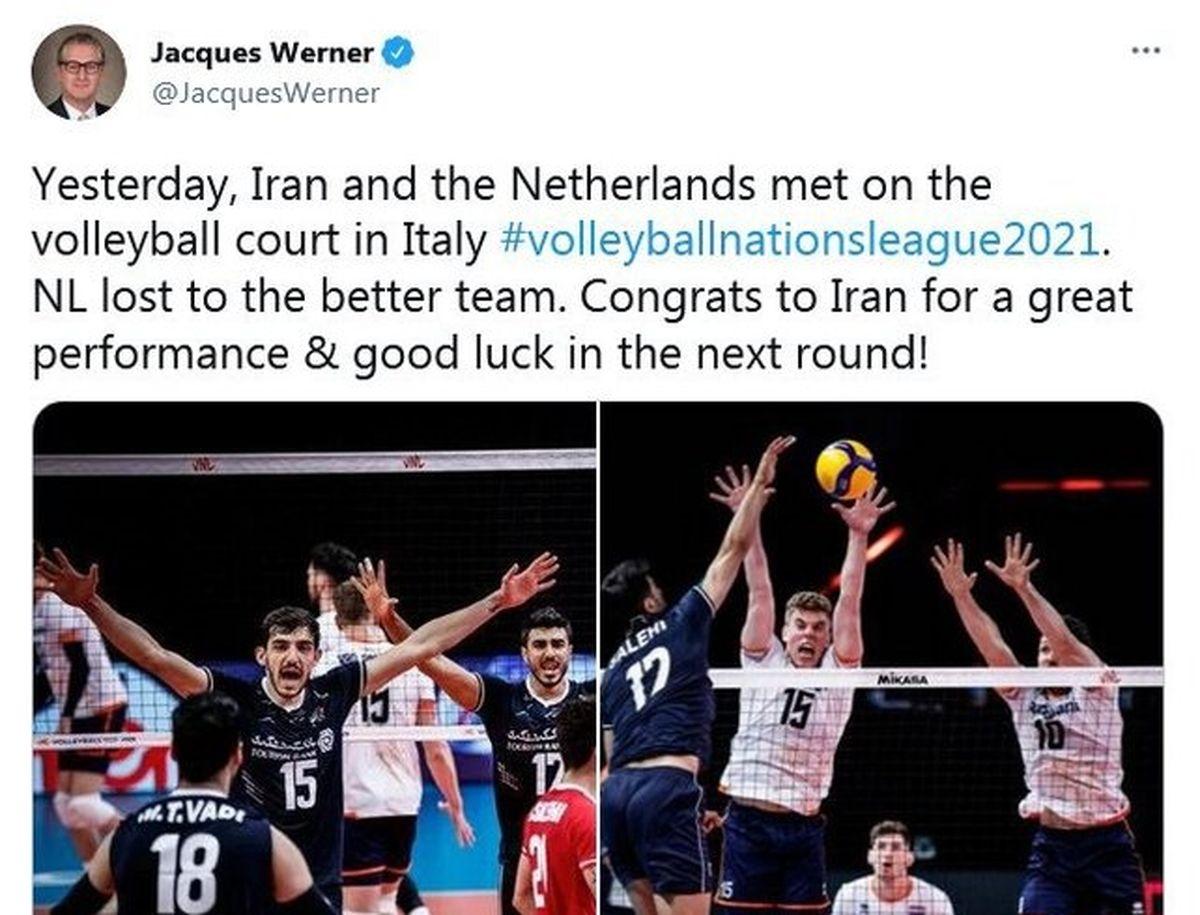 تبریک سفیر هلند در تهران به تیم ملی والیبال ایران+جزئیات بیشتر