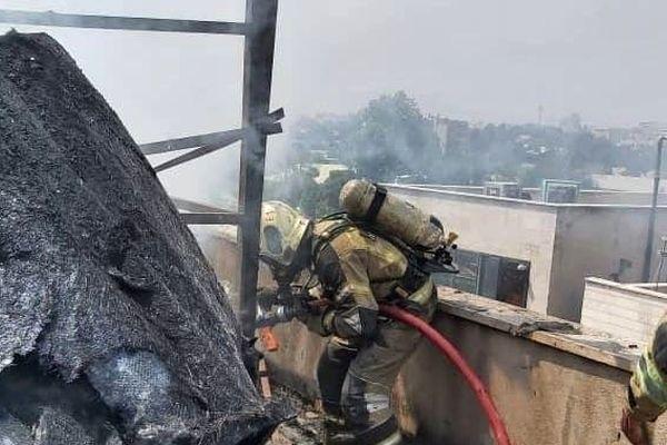 فیلم لحظه آتشسوزی فجیع در اطراف میدان حر+تصاویر و فیلم وحشتناک