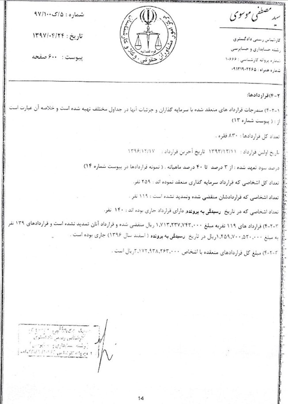 گزارش حسابرسی سرمایهگذاری های دومان سهند توسط کارشناس رسمی دادگستری(تصویر دو)