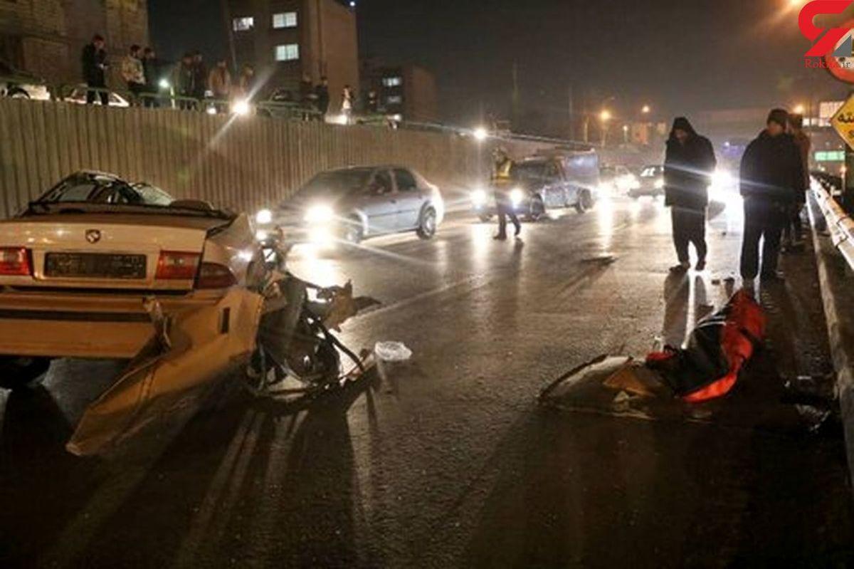 تصویری وحشتناک از یک تصادف/سقف سمند کنده شد +عکس