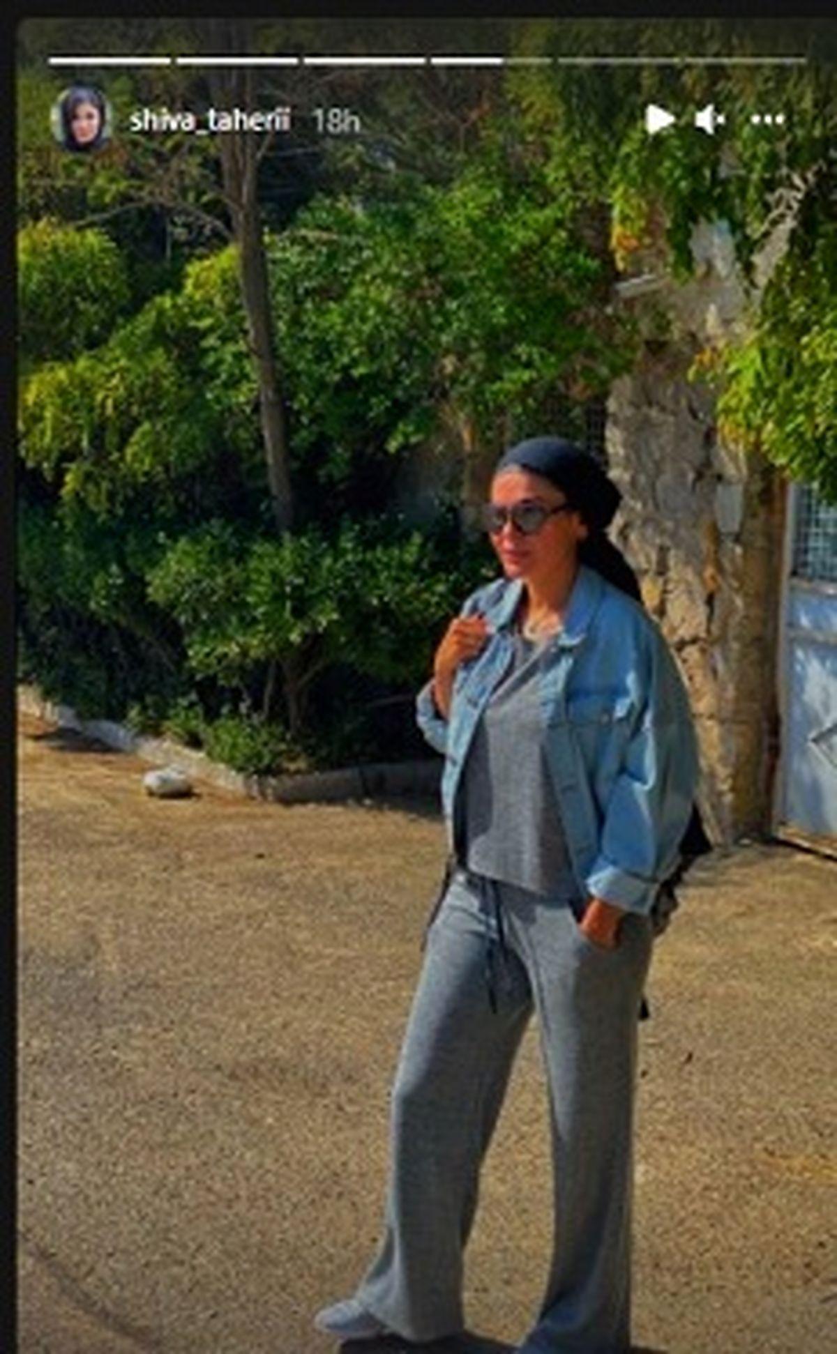 تیپ نامتعارف شیوا طاهری در حال پیاده روی +عکس